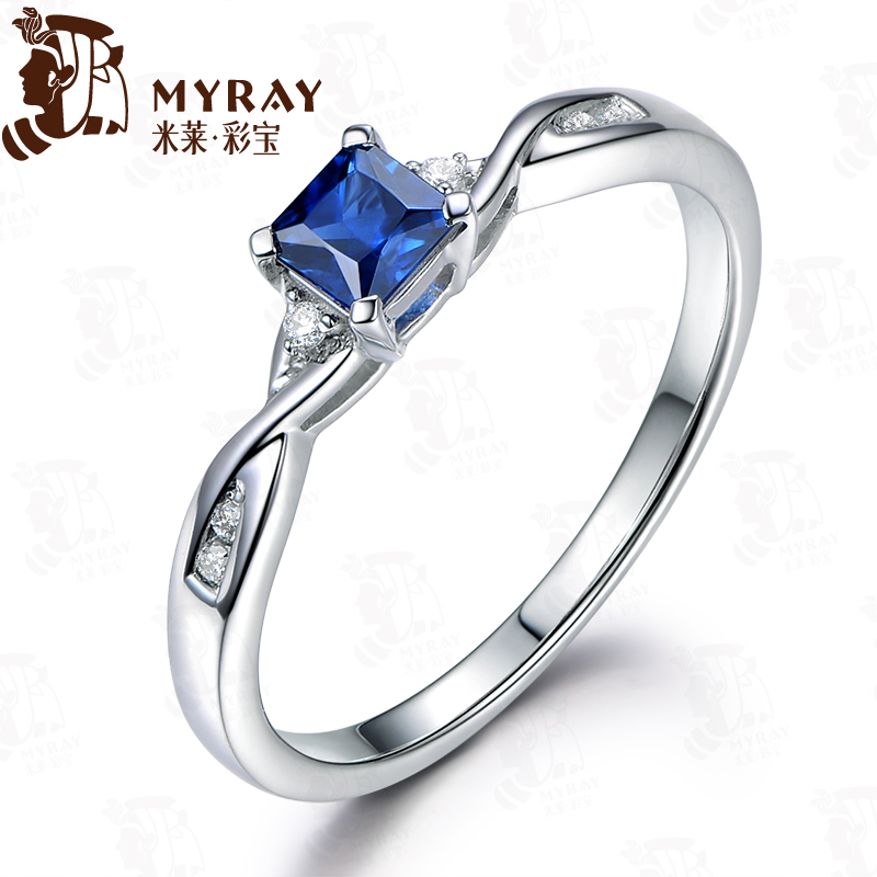 Mile 0.33 karat points diamond sapphire ring female 7 k gold inlaid multicolored multicolored stone custom spot
