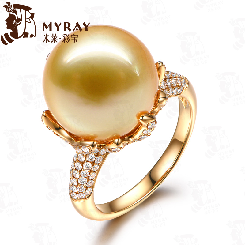 Mile 14-14. golden south sea pearl ring 5mm k gold pearl diamond ring multicolored