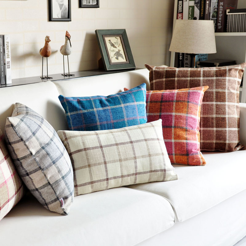 Miller classic thick plaid striped pillow cover fabric sofa cushion pillow cushions office pillow