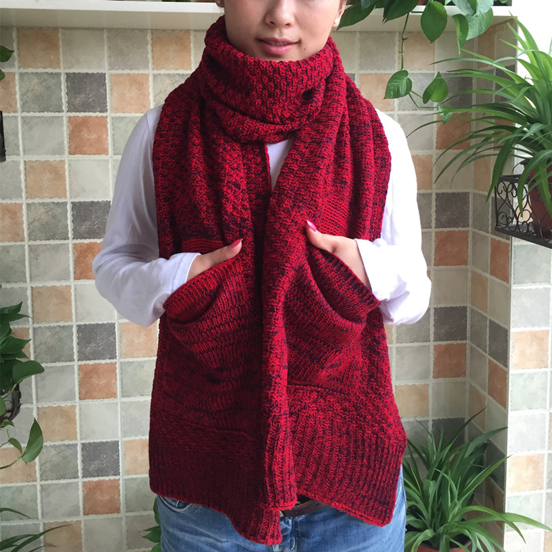 Million passengers hi with pocket around the korean version of the fall and winter days wool scarf female autumn thick warm knit wool scarf