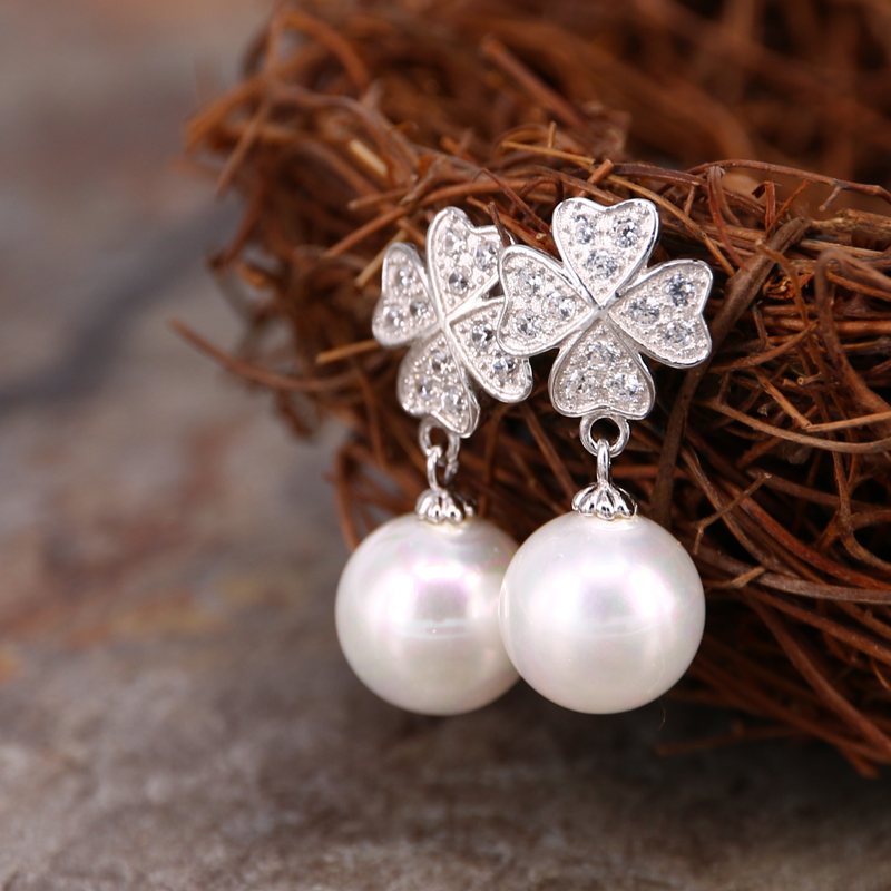Mina si korean version of clover silver inlaid pearl earrings ear jewelry earrings girls day gift