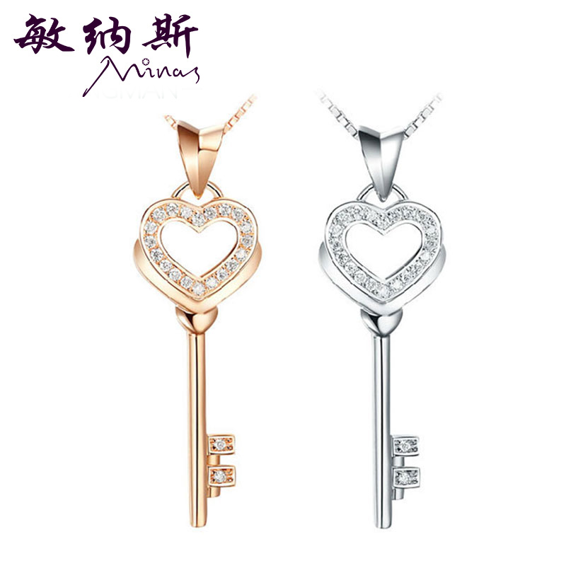 Minas jewelry new jewelry k gold rose gold heart key pendant diamond pendant necklace female models