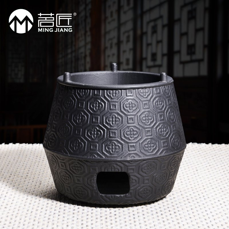 Ming carpenter japanese iron pot heat insulation ring fine wood pedestal base tea charcoal stove cast iron stove alcohol stove tea specials
