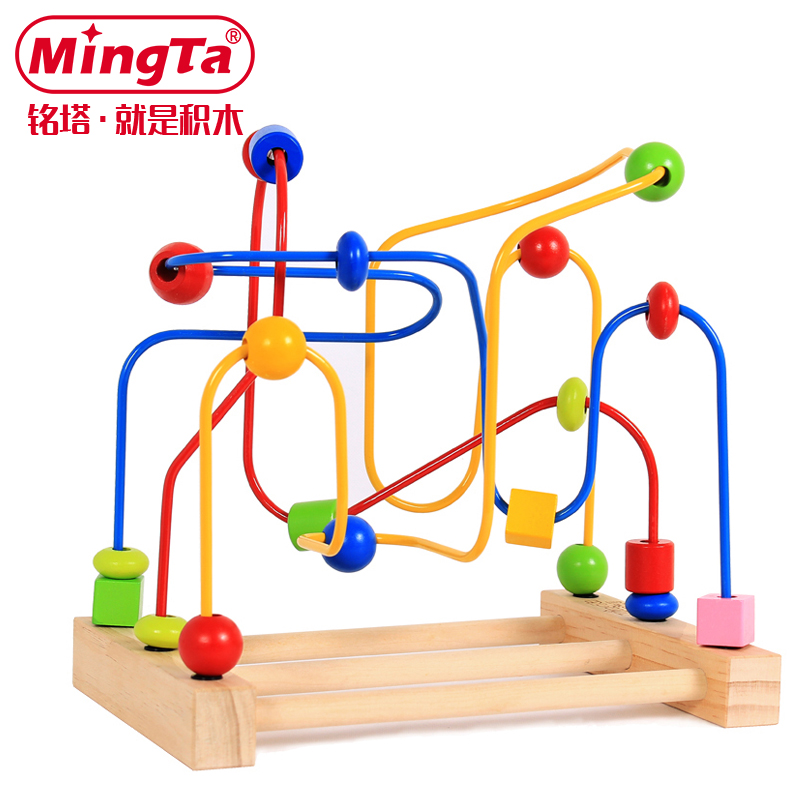 Ming tower wooden beads around beaded wooden puzzle toys children's intelligence early childhood baby infant child toy 0-1-3-year-old