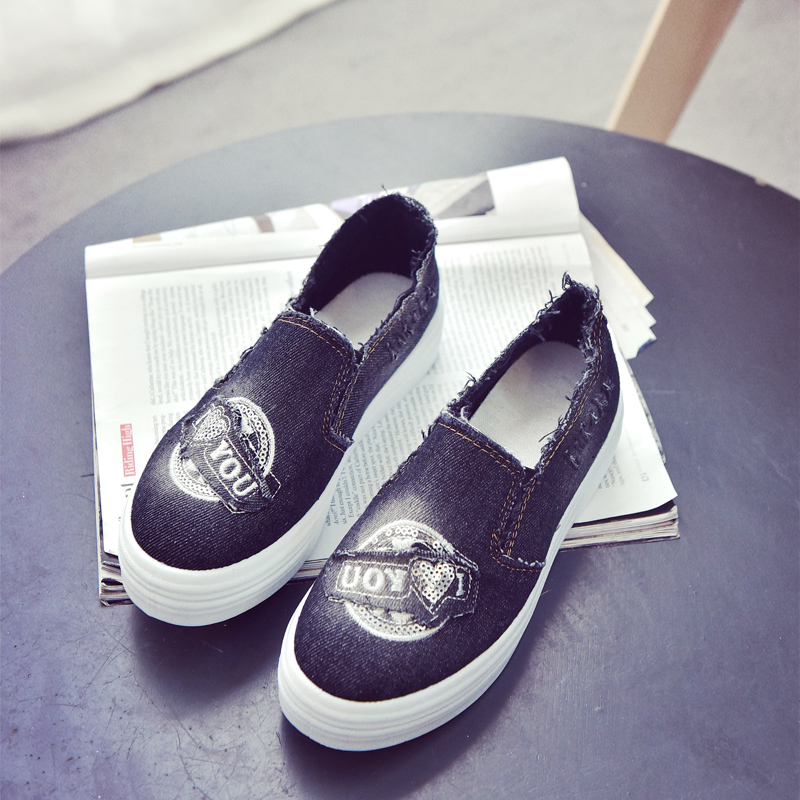Minnie xuan 2016 autumn new thick crust carrefour shoes canvas shoes shoes korean version sets foot shallow mouth shoes shoes casual shoes