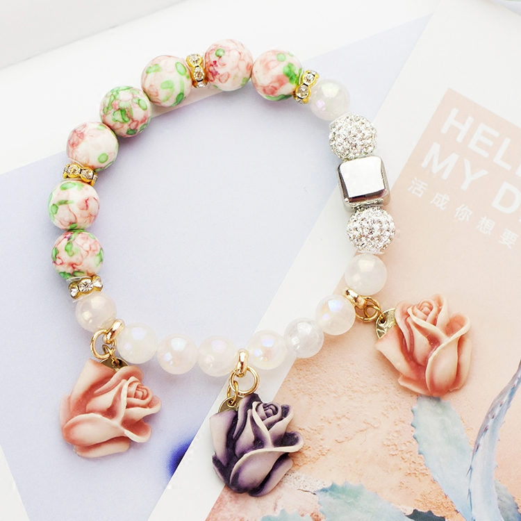 Mipenna/mi bona rammel nb_4o japan and south korea rose to send you the gift artificial crystal bracelet female accessories pendant