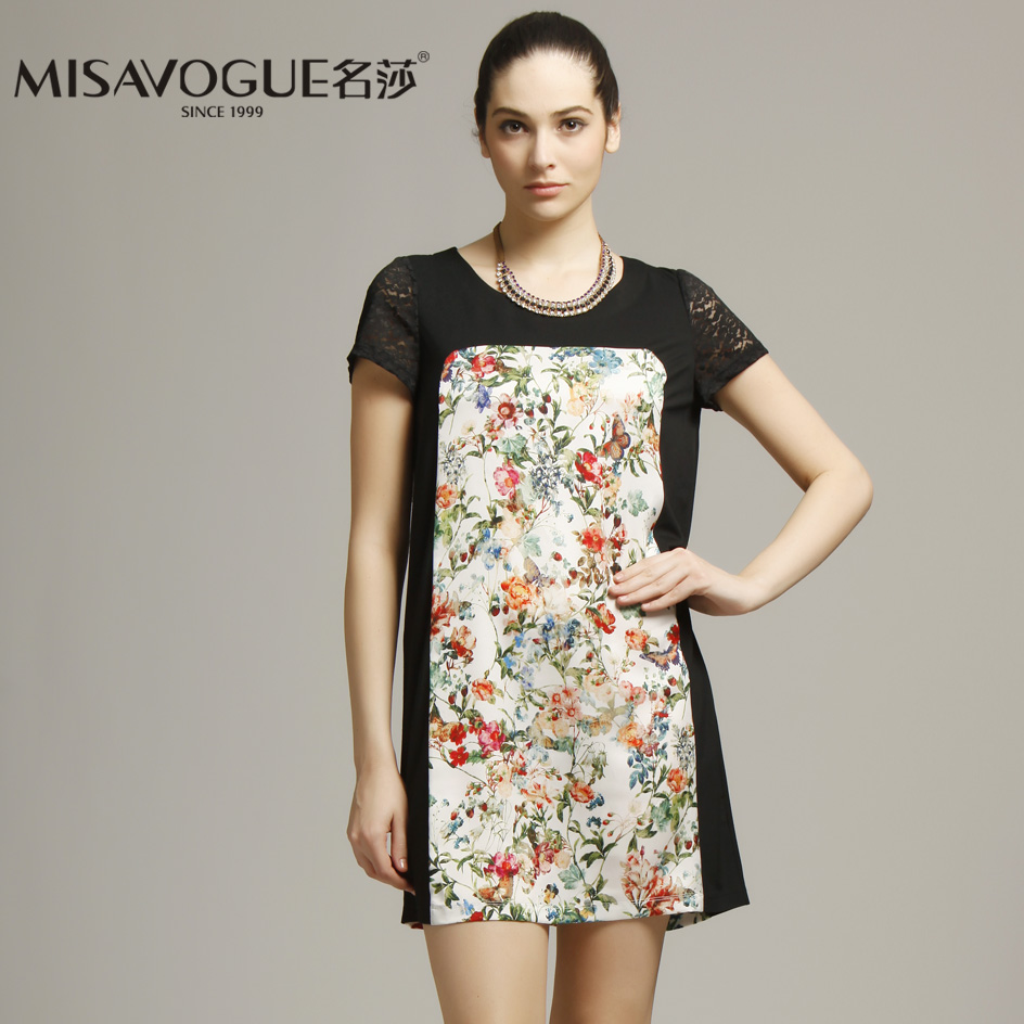 Misavogue/name lufthansa summer new 002L022 flower pattern short sleeve lace sleeve dress was thin