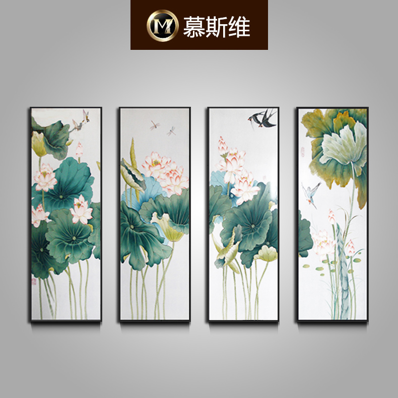 Misiti dimentional quadruple sofa backdrop painting decorative painting new chinese ink paintings painted mural painting lotus flowers and birds