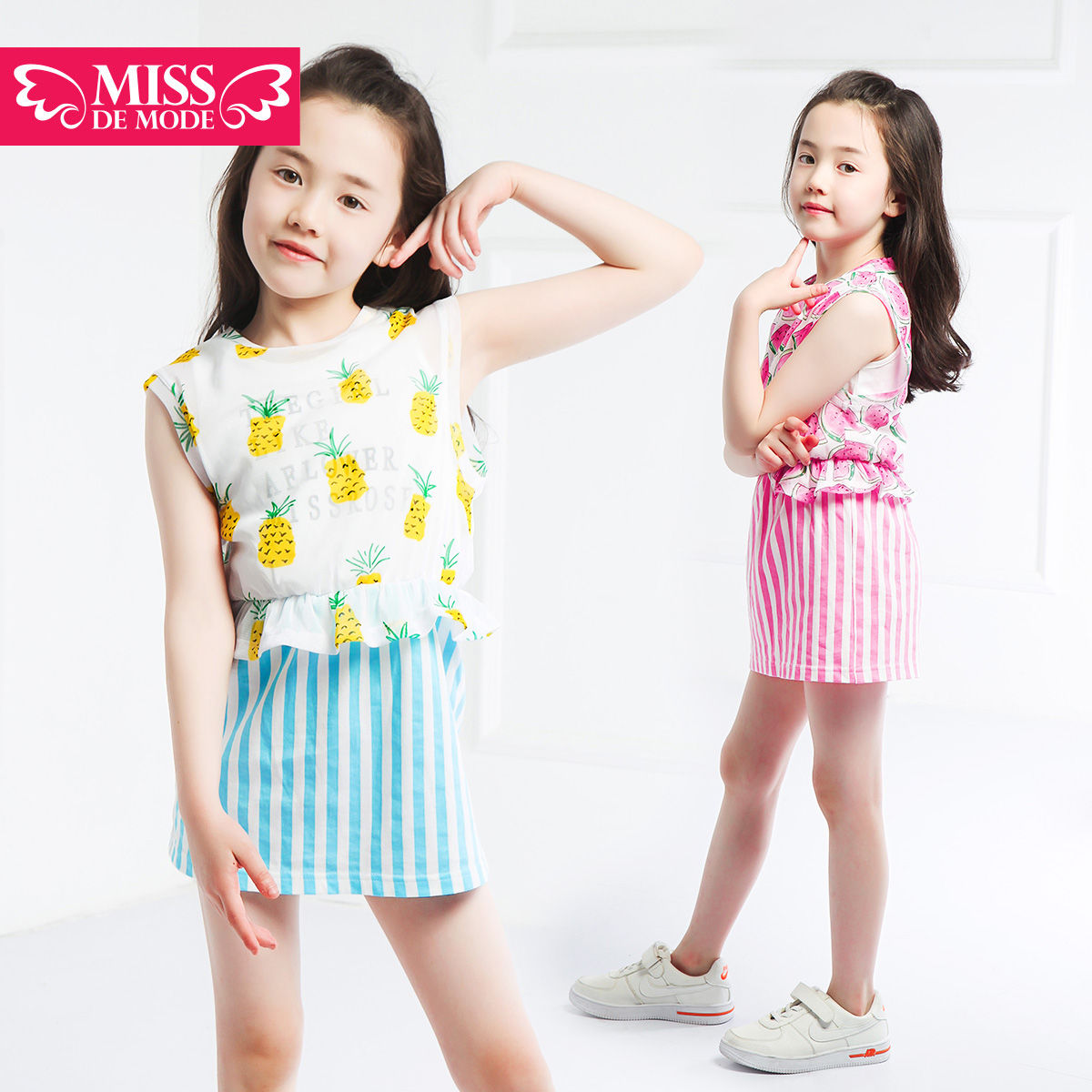 Miss green box kids modern girls 2016 summer new children's clothing girls dress back heart skirt dress stitching