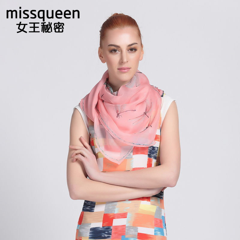[Missqueen] thin silk chiffon scarf female summer sunscreen wai butterfly print silk scarf large square scarf female