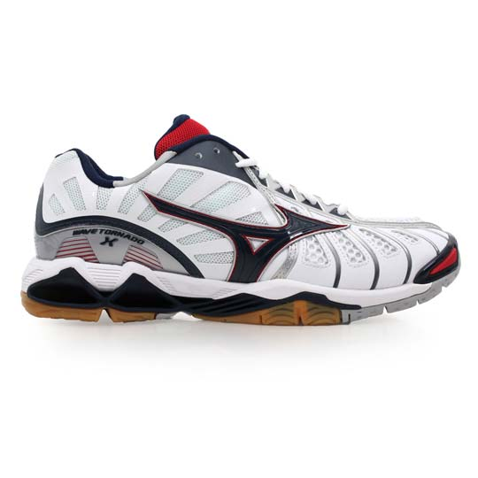 Mizuno wave tornado x men's volleyball badminton shoes badminton shoes-white ridge green and red