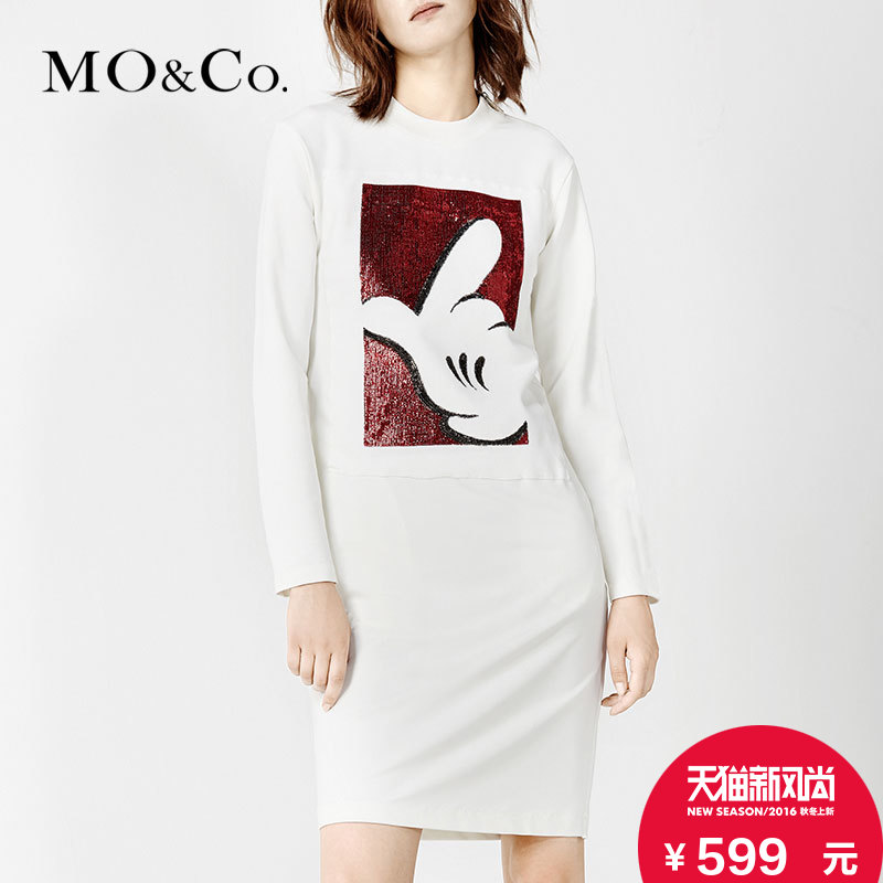 Mo & co. sequin embroidered MA161SK t43 gesture mickey cartoon round neck long t-shirt dress moco