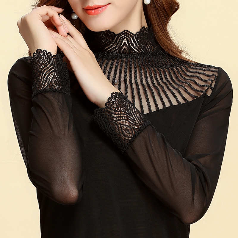 Mo fei silk 2016 autumn and a half high collar lace collar gauze bottoming shirt ladies lace shirt long sleeve t-shirt shayi