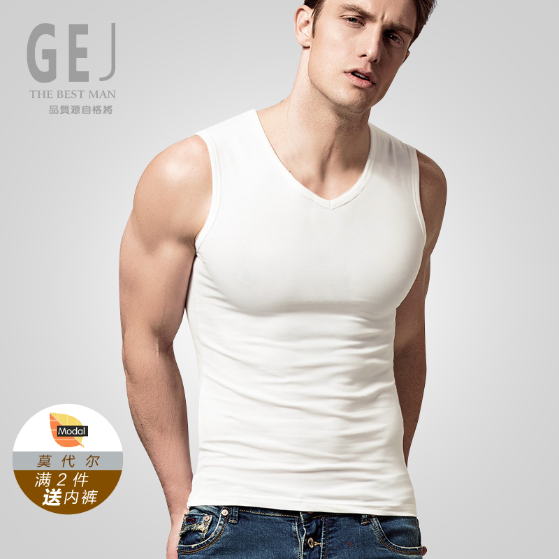 Modal men's v-neck vest broad shoulders round neck tight undershirt sports vest bottoming solid color underwear summer and autumn