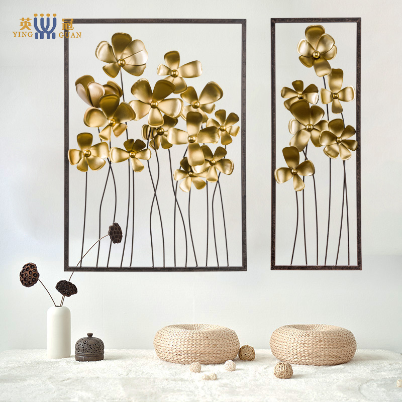 Modern chinese new home living room entrance wall tv wall hanging wrought iron decorative wall hangings decorated clubs wall decorations