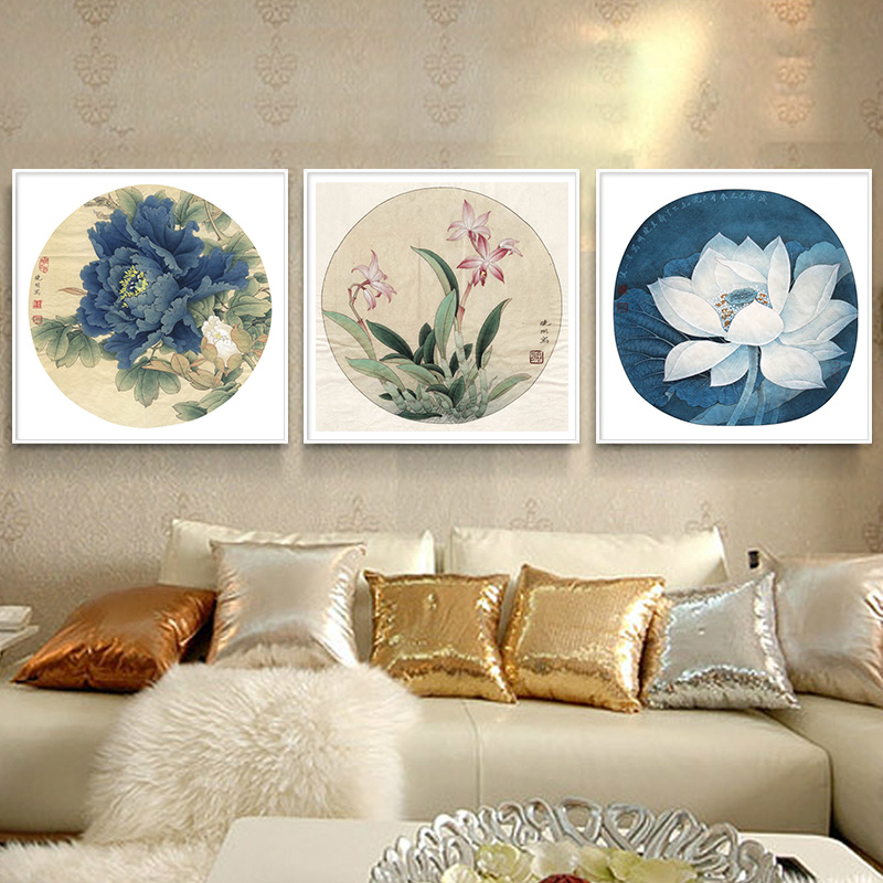 Modern chinese restaurant restaurant wall painting decorative painting peony flower and bird painting paintings lotus clivia