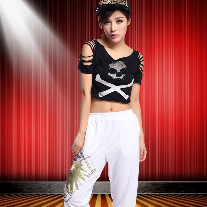 Modern dance hip-hop clothing hip hop jazz dance clothing female ds lead dancer jazz play hip-hop t-shirt out clothes