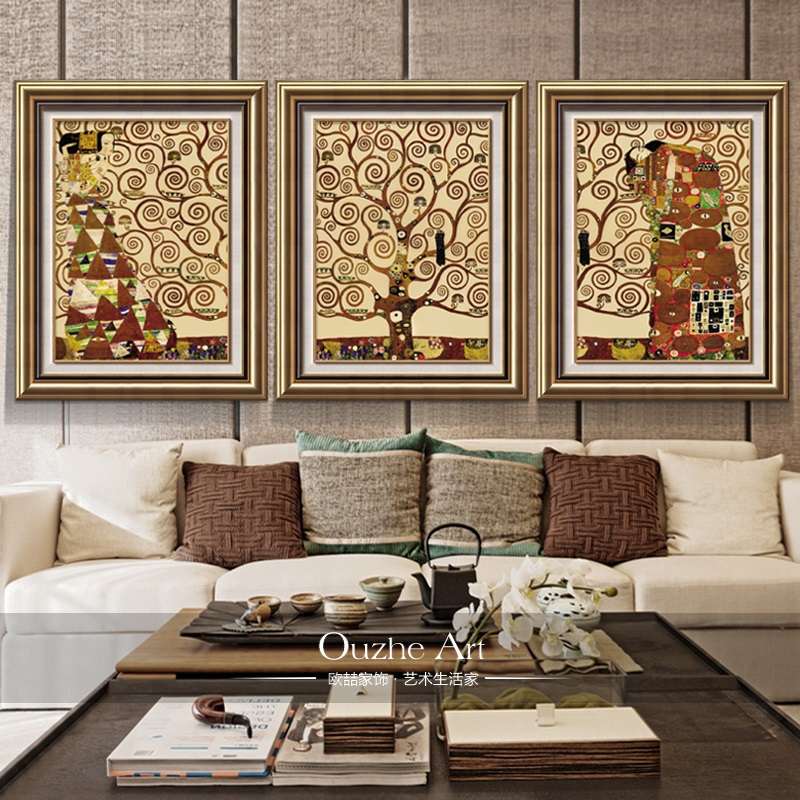 Modern decorative painting the living room entrance sofa backdrop mural painting framed painting american triple european tree of life