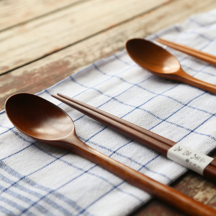 Modern housewife creative wooden spoon fork spoon suit student portable tableware three sets of chopsticks winding wooden spoon