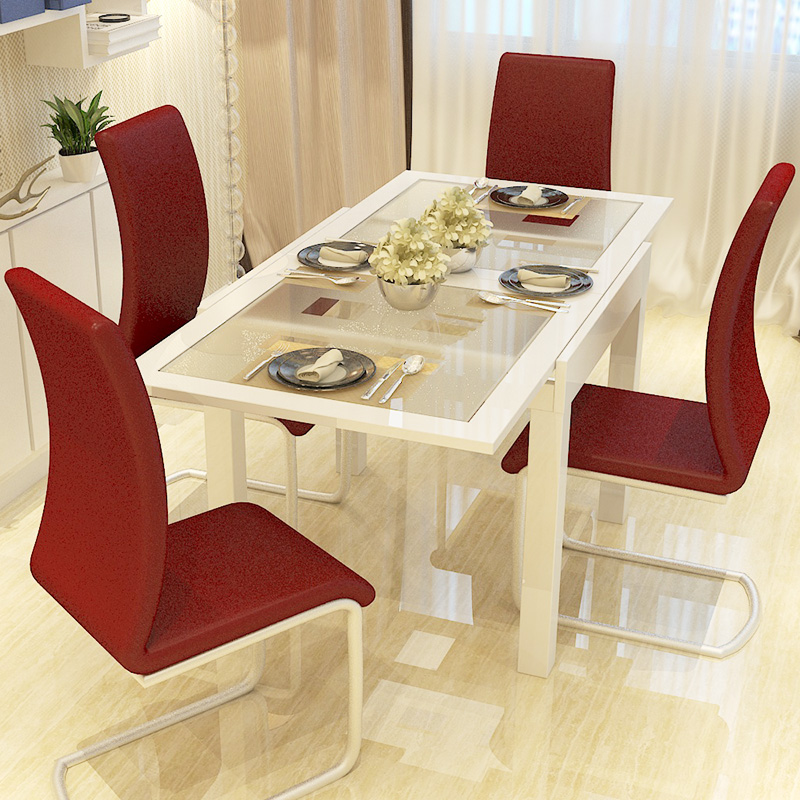 Modern Minimalist Dining Table Small Apartment Telescopic Folding Dinette  Table Glass Dining Tables And Chairs Combination