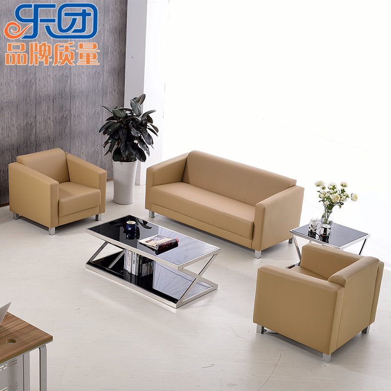 Modern minimalist fashion leather office sofa table combination for business reception parlor area with a sofa double trio