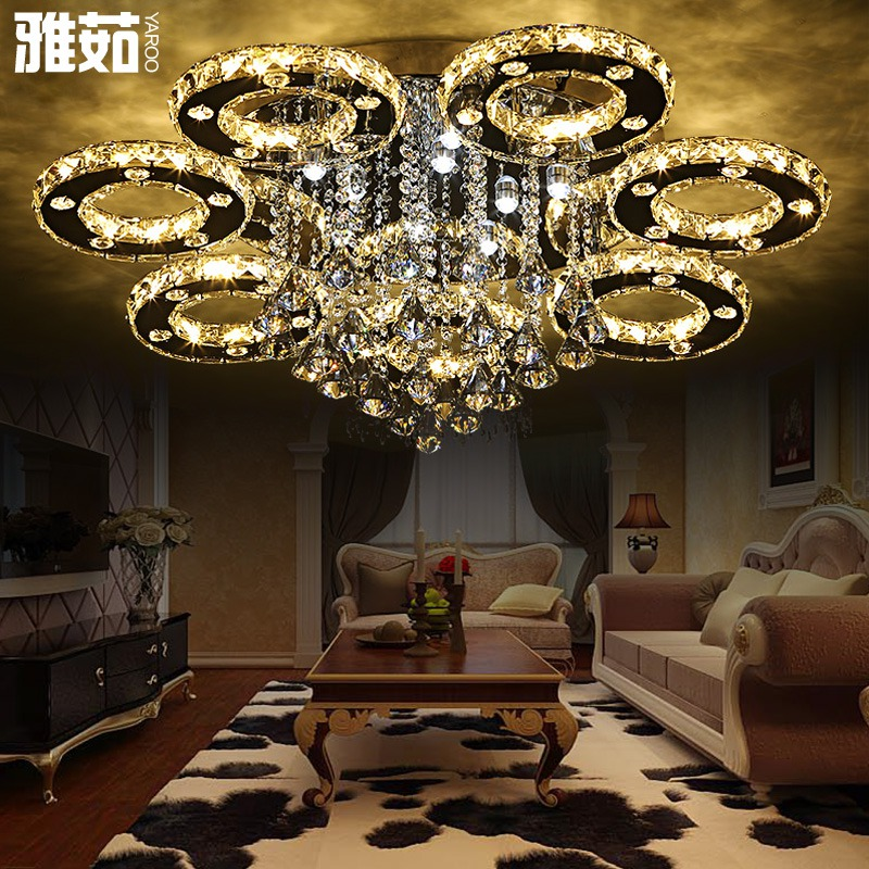 Modern minimalist living room lights round crystal lamp atmosphere led ceiling lamp bedroom lamp dining hall lighting lamps