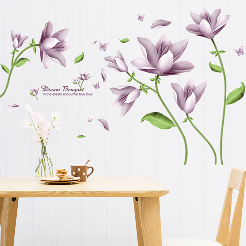 Modern minimalist living room plant flowers removable adhesive wall decoration living room bedroom sofa backdrop tv wall stickers