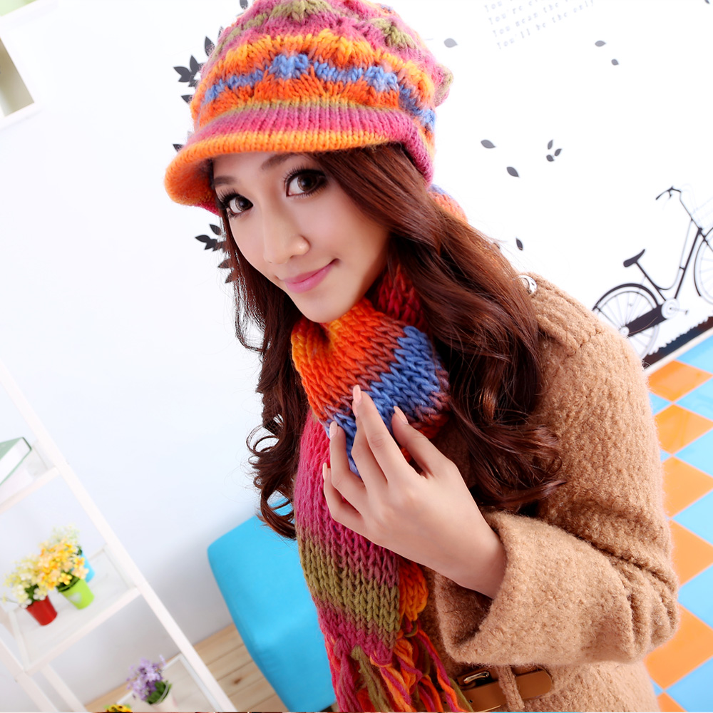 Momiton korean winter influx of women fashion warm suit rainbow brimmed wool hat wool hat scarf piece