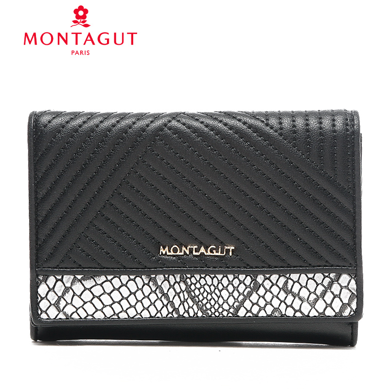 Montagut/montagut 2016 new black and white hit color fashion folded wallet women wallet cow leather handbag square section