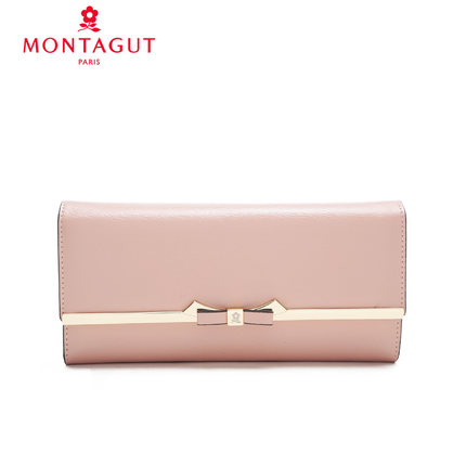 Montagut wallet female long section 2016 new fashion bow three fold leather pure color takou hiswallet korea