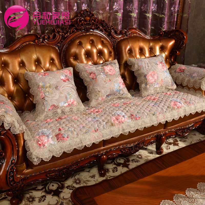 Month and family think euclidian luxury lace fabric chaise leather sofa cushion sofa cushion sub towel slip customized