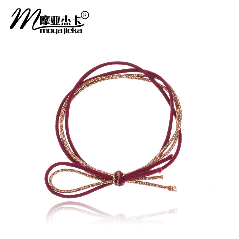 Moore jieka korean high stretch wild four shares liangsi bow hair ring hair rope rubber band tousheng headdress