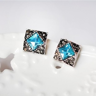 Moore jieka korean version of the luxury fashion lady temperament simple blue square earrings jewelry