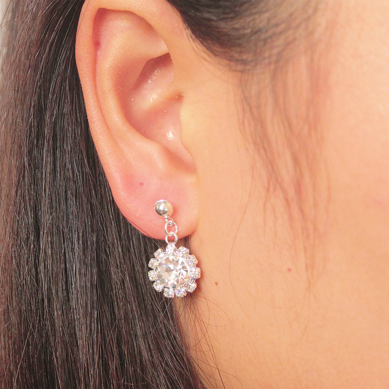 Moore jieka pearl earrings diamond flower earrings earrings korean version of alloy jewelry