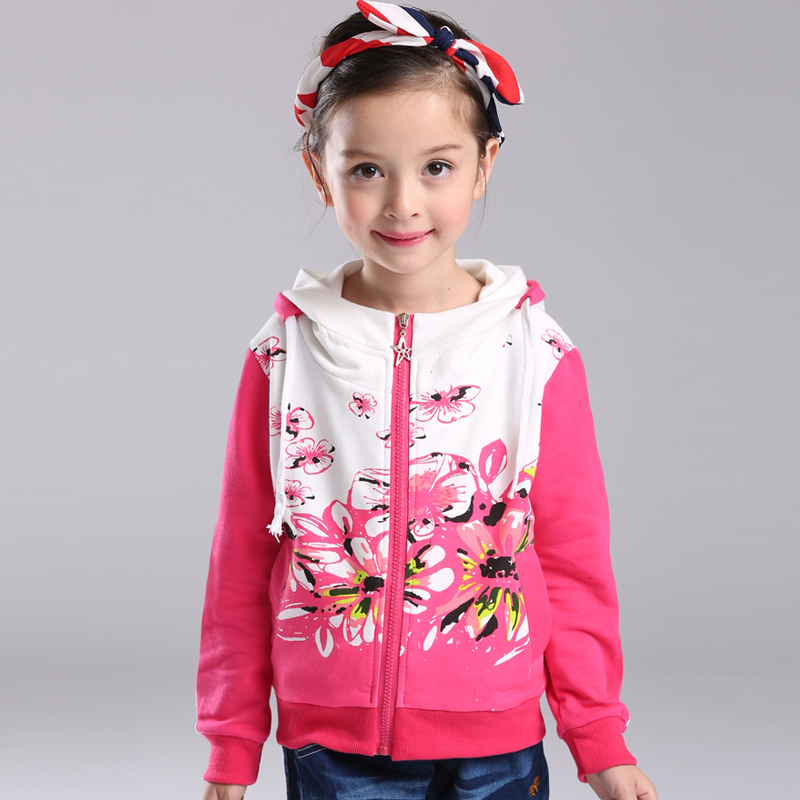 More fun house kids 2016 new spring coat baby girls long sleeve coat girls clothes korean sports sweater