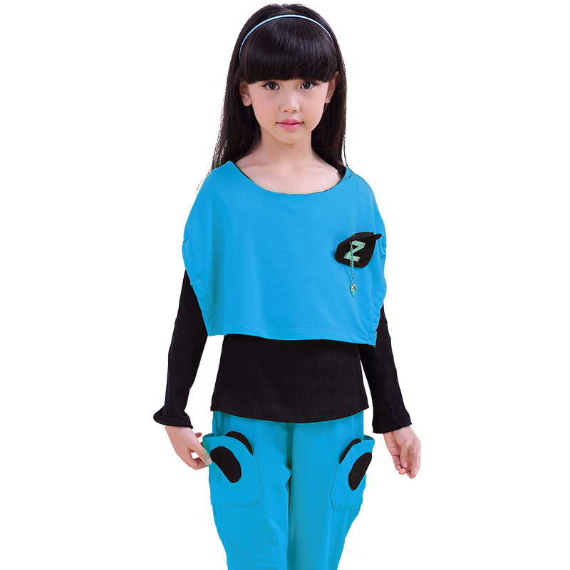 More fun house kids 2016 spring new girls suit 2 korean version of the spring and autumn sports suit big virgin suit