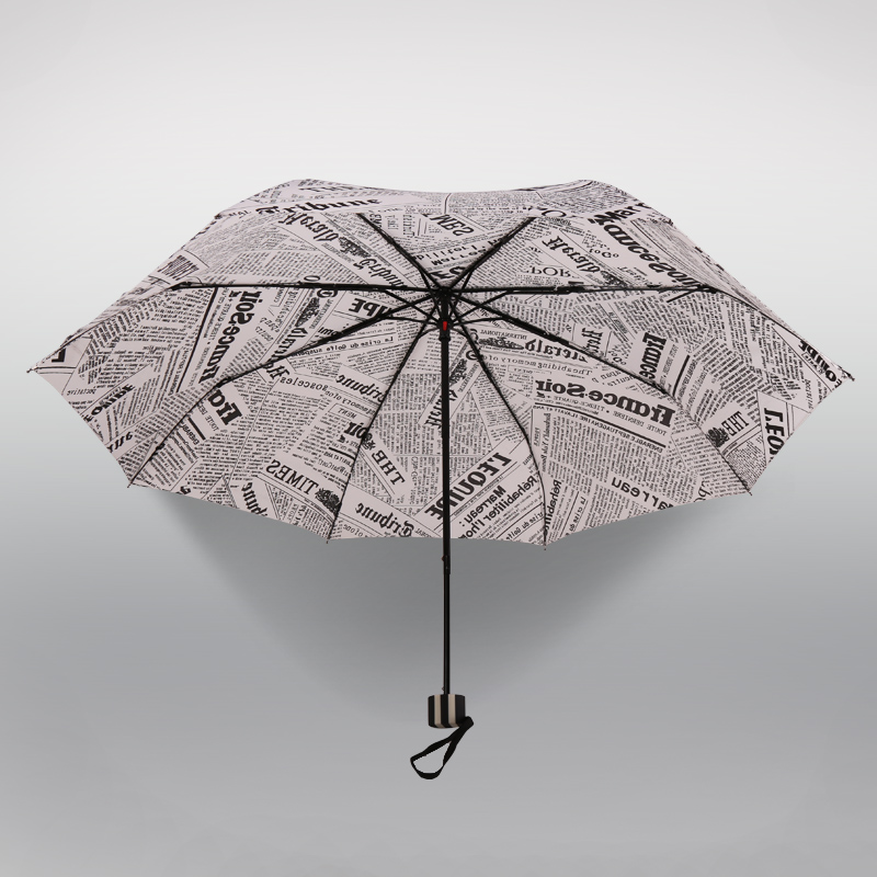 More profit creative retro british style newspapers umbrella folding umbrella three folding umbrella men and ladies umbrella windproof umbrella rain or shine dual