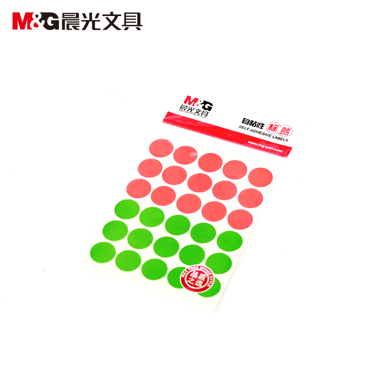 Morning yt-18 self adhesive labels colored stickers colored dots of red and green diameter 16mm 30 6枚x10 zhang