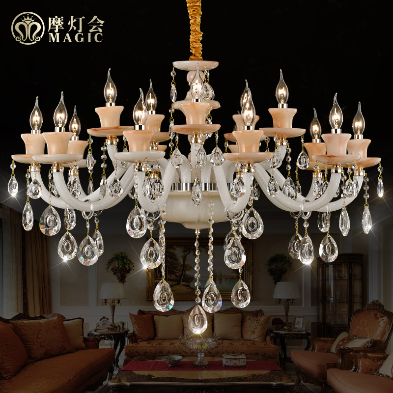 Moroccan lantern european imitation marble imitation jade crystal chandelier candle chandelier hanging lighting living room dining bedroom penthouse floor