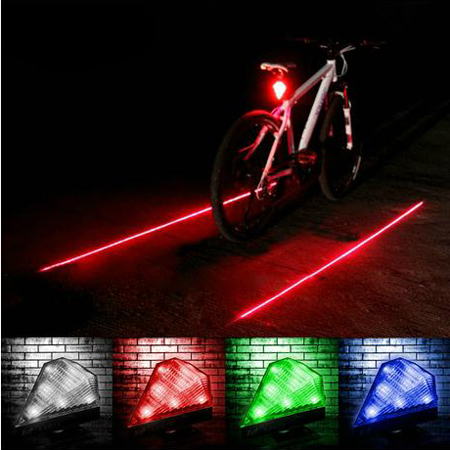 Mountain bike round taillights parallel line laser warning lights dead coaster rechargeable diamond taillight rear tail lamp