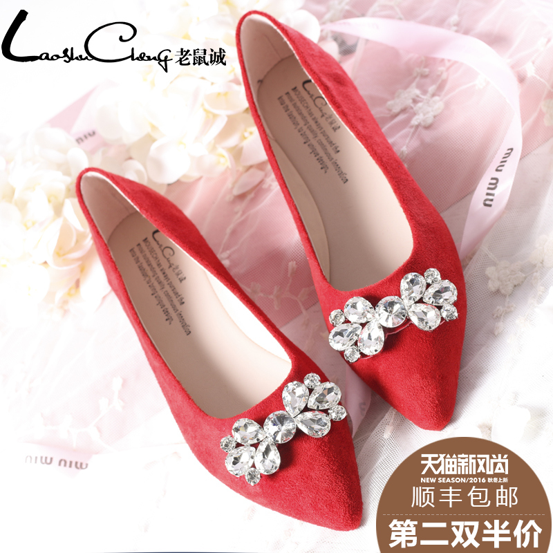Mouse cheng 2016 spring shoes tidal flat with rhinestone bow pointed flat shoes women wedding shoes korean wild