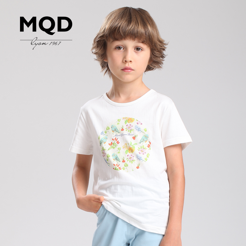 Mqd kids boys summer 2016 boys short sleeve t-shirt summer new fashion cotton printed cotton
