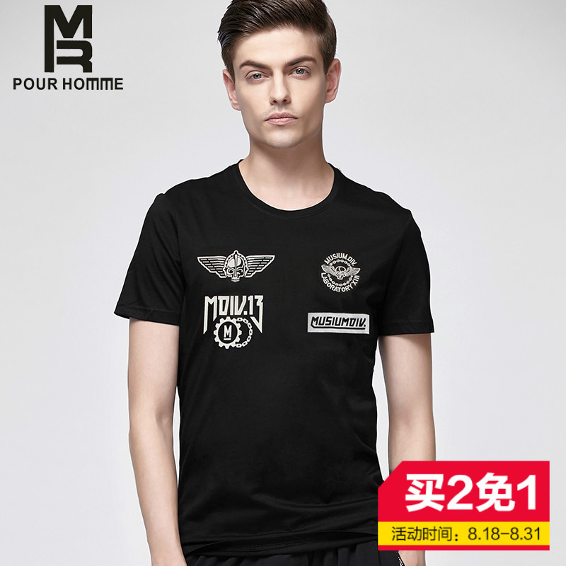 Mr personalized tide brand 2016 summer new dark wind printed cotton t-shirt men's short sleeve t-shirt skull angel