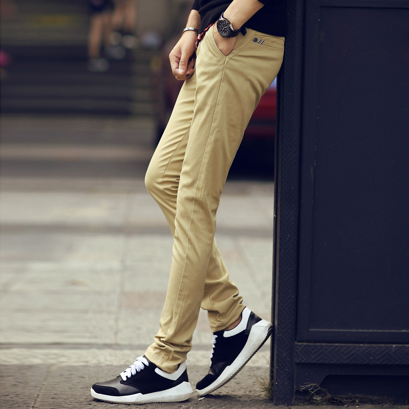 Mrpk/meng rui punk autumn new men's solid color slim casual pants long pants influx of men slim casual trousers