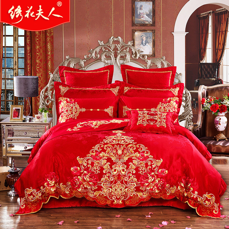 Mrs. embroidered royal legendary chinese red wedding celebration bedding bedding bed suite family of ninety