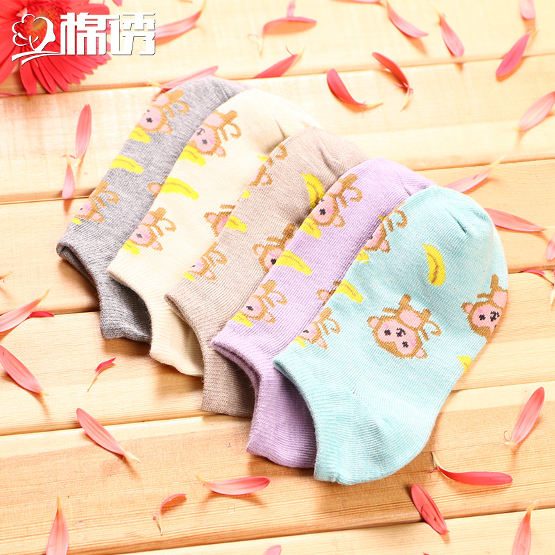 Ms. cotton lure japanese spring and summer shallow mouth socks boat socks female socks thin section socks socks socks socks to help low to help small monkey