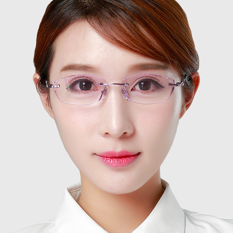 Ms. diamond trimming glasses rimless glasses frame myopia ultralight titanium glasses frame glasses frame finished with the degree of 1607
