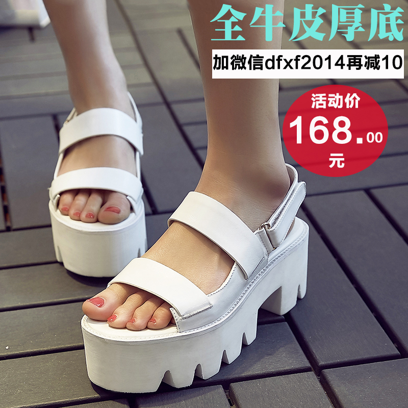 Ms. fan news europe station summer 2016 tide muffin bottom platform sandals female summer sandals leather sandals