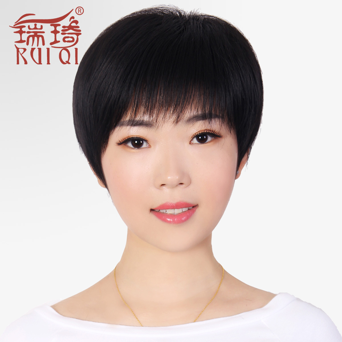 Ms. female short hair short straight hair wig middle-aged mom mother middle-aged korean fashion hair wig natural hair
