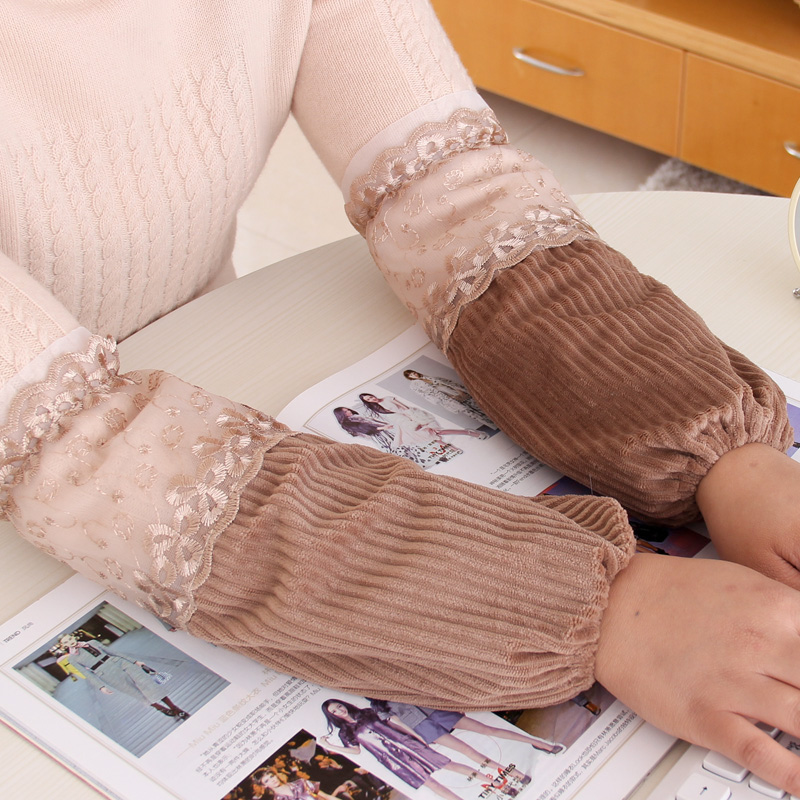 Ms. household sleeves korean version of the new autumn and winter flannel long section of lace cuff office chores antifouling adult sleeves